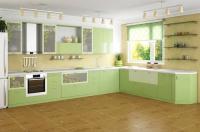 Кухня в свежо зелено