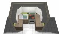 Малка П-образна кухня от ПДЧ